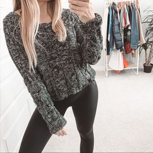 For Love & Lemons Knitz Braided Pom Cable Sweater